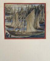 Piccolo Acquerello Barche Pesca in Porto Fishing Vessels Espressiva Berlino 1926