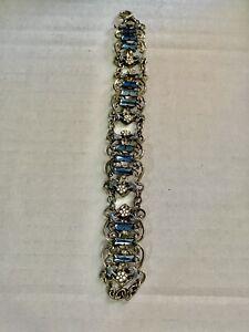 vintage Czech Art Deco Link bracelet filigree w Enamel & blue glass stones
