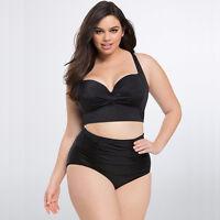 Plus Size Women Padded Push Up Bra Monokini Bikini Set Tankini Swimwear Swimsuit