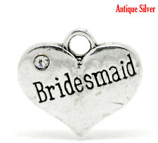 5 ANTIQUE SILVER INSCRIBED BRIDESMAID RHINESTONE HEART CHARM~Wedding party~(3)UK