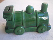 TIRELIRE ANCIENNE A CASSER FAIENCE CERAMIQUE TRAIN LOCOMOTIVE SNCF PIGGY BANK