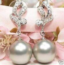 LUXUS Tahitigrey Muschelkern Perlen Ohrringe Weissgold plattiert (B7)