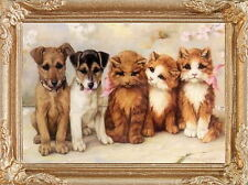 PUPPIES and KITTENS Dollhouse Picture - Framed Miniature Art - MADE IN AMERICA