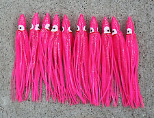 "Lot Of 10 Hoochie Squid Skirts Unrigged Fishing Lures 4.5"" - Pink"