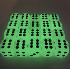 Glow In The Dark Dice 14mm D6 Single Set Dotted Spot Board Game Table Top