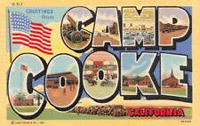 CA, California  CAMP COOKE LARGE LETTER LINEN~Vandenberg Air Force Base c1940's