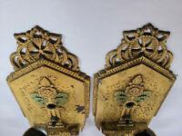 Pair Antique Cast Iron Wall Sconces Victorian Art Deco Gothic Vintage Salvage