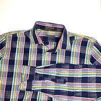 Peter Millar Multicolor Striped Dress Shirt Button Front Large L Plaids Check