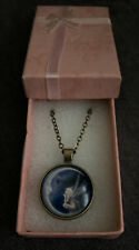 Angel On Moon Art Cabochon Glass Pendant & Necklace