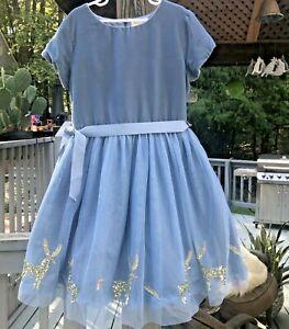 MINI BODEN 9-10 Light Blue Velvet Bodice Gold Sequin Reindeer Tulle Skirt Dress