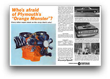 13x19 1964 PLYMOUTH BELVEDERE 426 MAX WEDGE ORANGE MONSTER HEMI MOTOR AD POSTER