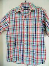 MENS CAMARGUE MULTI COLOR PLAID SHORT  SLEEVE SHIRT SIZE L 41-42