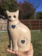 Vintage Ceramic Sitting Cat / Glazed / Decorated