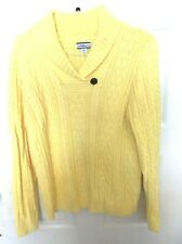 Women's Pullover Sweater Cable Knit XL Yellow Long Sleeves EUC