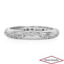 Estate Diamond 18K White Gold Wave Eternity Wedding Band Ring NR