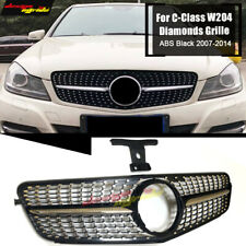 For Mercedes C-Class W204 Sports Diamonds Grille Grill Black Without Sign 07-14