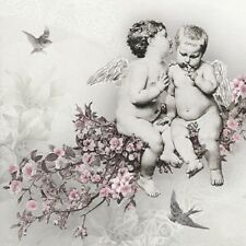 20 Paper Napkins-Cherubs,Gray Background, Paper Luncheon Napkins for Decoupage