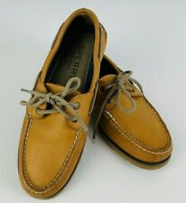 Sperry Top Sider Mens Boat Shoes 7.5M Brown Leather Rubber Soles Excellent