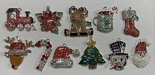 10 CHRISTMAS SANTA RUDOLPH STOCKING TREE & MORE Rhinestone Enamel Charm Pendants