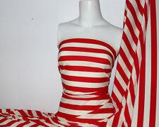 Red/Cream Stripes Lycra/Spandex 4 way stretch Matt Finish Fabric