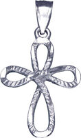 """925 Sterling Silver Cross Charm Pendant Necklace with Diamond Cuts and 18"""" Chain"""