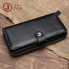 Men Genuine Leather Handmade Day Clutch Wallet Zipper Snapped Note Checkbook