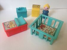 Vintage Lot Of 5 Little People Play Pen, Changing Table, Sink, Dryer, Woman