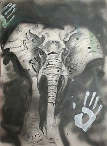 Modernist elephant portrait ink painting