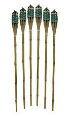"""Bamboo Torches – Set of 6 Includes Metal Oil Canisters  48"""" Long green"""