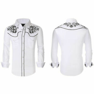 Mens Western Rodeo Cowboy Shirt White Black Embroidery Snap Pockets General 4