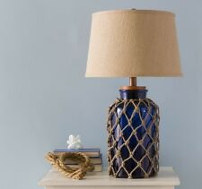 Beach Decor Lamps Table For Living Room Bedroom Nautical Navy Blue Glass Light