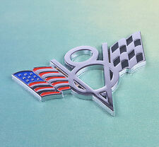 V8 Flag Emblem Badge Decal Sticker Metal Chrome Chevrolet Chevy Corvette Camaro