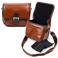Small Brown PU Leather Bag for PYRUS Double Screens Waterproof Digital Camera