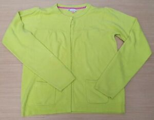 JOHN LEWIS Girls Acid Green One Button Fine Knit Cardigan Acrylic 12 Years