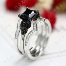 3ct Diamond 14k White Gold Finish Halloween Engagement Bridal 2-Skull Ring Set