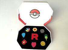 "Pokemon Gym Indigo League Kanto Team Rocket ""R"" Pin Set of 9 Metal Badge"