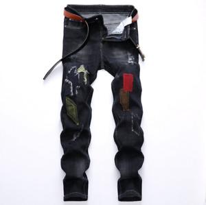 Designer Men's Moto Biker Jeans Straight Slim Fit Denim Pants Distressed Blue US