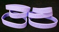 Lavender Awareness Bracelets Lot of 6 Silicone General Cancer Support IMPERFECT