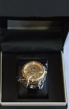BNIB JBW 'Camille' 0.16ct DIAMOND 18K yellow gold plated watch black band