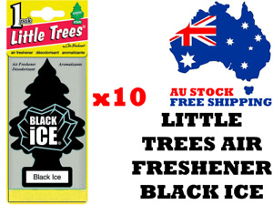Little Trees Air Freshener Black Ice x 10 (10 Pack) - Car Truck Taxi Home Office