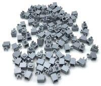 Lego 100 New Light Bluish Gray Bricks Modified 1 x 1 with Clip Horizontal Parts