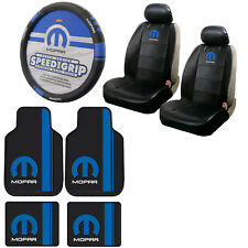 New Blue Mopar Car Truck Front Back Floor Mats Seat Covers Steering Wheel Cover