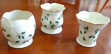 Set Of 3 Lenox Holiday Dimension Holly Berry Christmas Votive Candle Holders