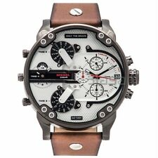 Diesel Original Mens DZ7394 MR DADDY 2.0 Gunmetal IP Brown Leather Strap Watch