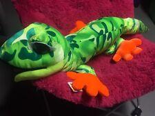 New lizard Stuffed Animal Plush gecko Reptile Green Orange Gift 00000436