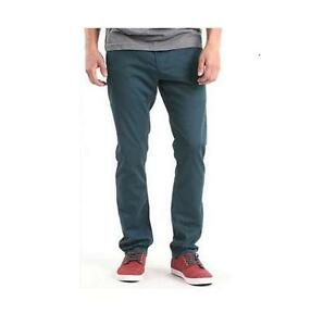 MEN'S GUYS BULLHEAD GRAVELS SLIM TWILL DENIM PANTS JEANS TEAL GREEN NEW $55
