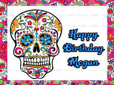 DAY of the DEAD Sugar SKULL Edible Photo CAKE Image Icing Topper Decoration