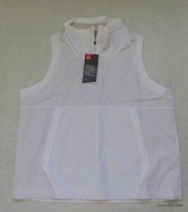 NWT UNDER ARMOUR 1324679-100 White 1/4 Zip Windbreaker Vest Women's SMALL $50