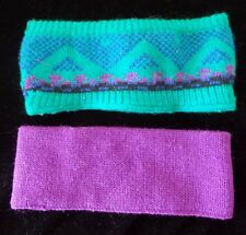 2 GIRLS WINTER KNIT HEAD WRAPS BANDS 1 SOLID PURPLE TEAL BLUE PRINT one size @@