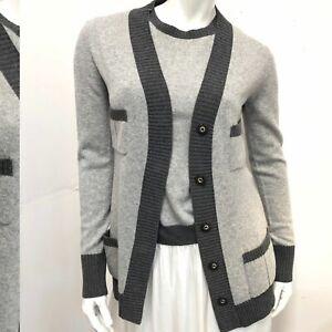 Les Copains Blue Soft Gray Cashmere Top w Cardigan